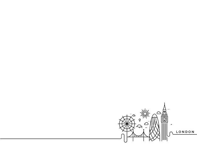 Siluetta dell'orizzonte di londra in bianco e nero, illustrazione di vettore.
