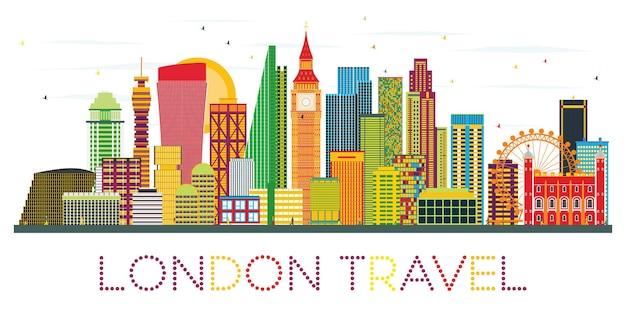 Orizzonte di londra con edifici di colore. viaggi d'affari e concetto di turismo con edifici moderni. immagine per presentazione banner cartellone e sito web.