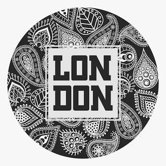 T-shirt londinese alla moda tipografia, design emblema sportivo, con ornamento floreale, etichetta stampa grafica