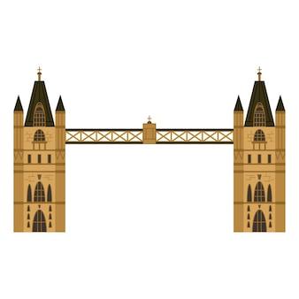 Icona piana di london tower bridge isolato su priorità bassa bianca.