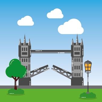 Paesaggio del punto di riferimento dell'albero della lampada di via del ponte della torre di londra