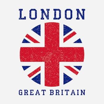 Tipografia di londra con bandiera della gran bretagna stampa grunge per abbigliamento di design tshirt abbigliamento