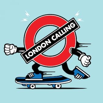 Carattere di skateboard del pattinatore della metropolitana di londra