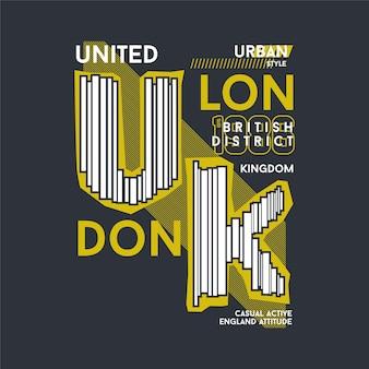 Illustrazione di disegno della maglietta di vettore di tipografia grafica di londra regno unito