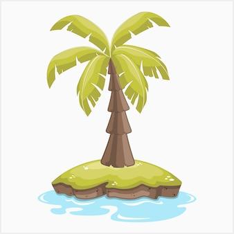 Illustrazione vettoriale di palma solitaria su un'isola