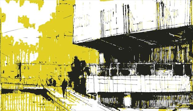 Sagoma di uomo solo sul ponte disegnato a mano.