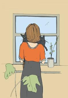 Donna sola vicino alla finestra con i gatti. illustrazione disegnata a mano di vettore