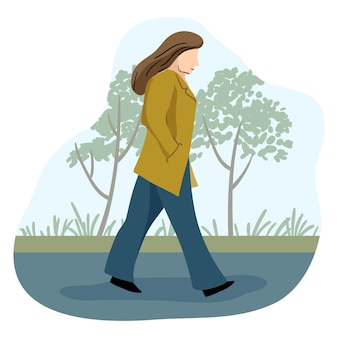 Donna sola che cammina nell'illustrazione di strada