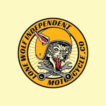 Distintivo con logo lonewolf motorcycle club con stile retrò vintage