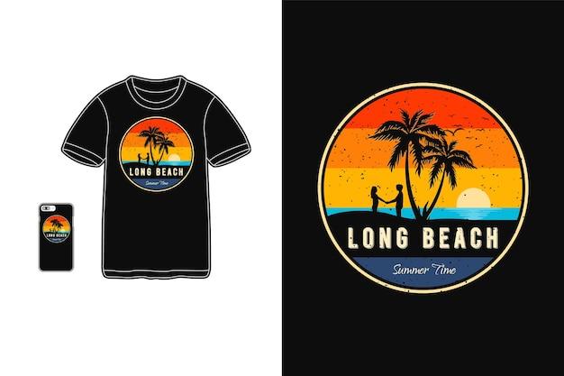 Tipografia dell'ora legale di long beach su merce di t-shirt e cellulare