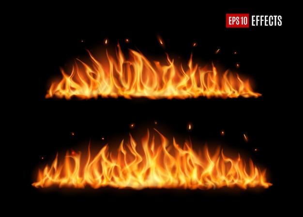 Lunghe lingue di fuoco ardenti, fiamma vettoriale realistica