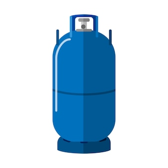 Bombola di gas lunga isolata su priorità bassa bianca. stoccaggio di carburante ad alta tanica. bottiglia di propano blu con contenitore icona a due manici in illustrazione vettoriale stile piatto.