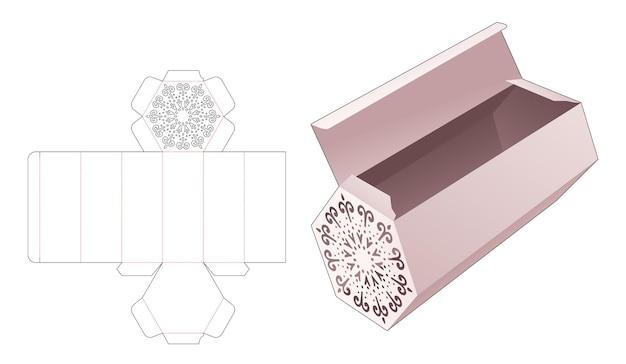 Scatola lunga a forma esagonale con modello fustellato mandala stencil