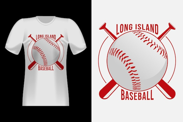 Design di t-shirt retrò vintage in stile tipografia da baseball di long island