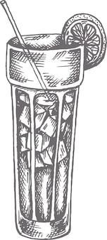 Illustrazione disegnata a mano di vettore del cocktail dell'isola lunga nello stile di abbozzo