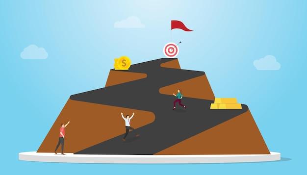 Lunga strada al concetto di successo con strade di montagna e persone