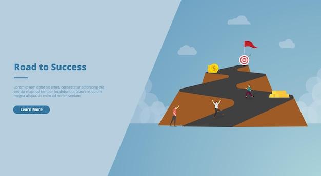 Lunga strada verso il banner del sito web di successo
