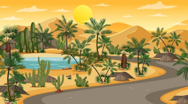 Lunga strada attraverso il paesaggio della foresta desertica alla scena del tramonto