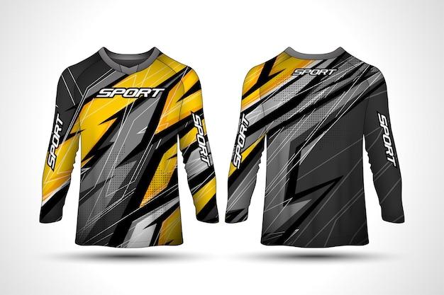 Design in jersey sportivo a manica lunga / modello di design t-shirt a manica lunga, maglia da motociclista sportiva da corsa, design della maglietta