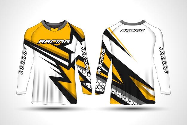 T-shirt manica lunga da moto sportiva in jersey