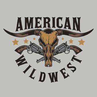 Toro longhorn e pistole wild west
