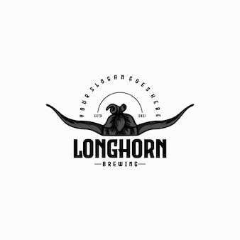 Longhorn con luppolo per la produzione di birra, riferimento logo