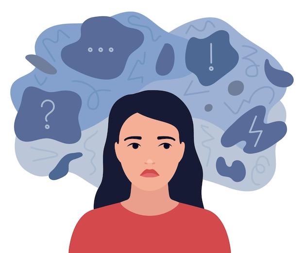 Pensieri tristi e ansiosi di ragazza. la donna pensierosa è circondata da tristi riflessioni. ansia, depressione, stress. disturbo mentale e caos in mente.