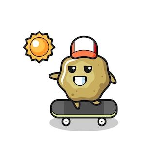 Illustrazione del personaggio sgabelli sciolti cavalcare uno skateboard, design in stile carino per maglietta, adesivo, elemento logo