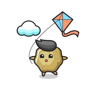 L'illustrazione della mascotte degli sgabelli sciolti sta giocando a un aquilone, un design in stile carino per maglietta, adesivo, elemento logo