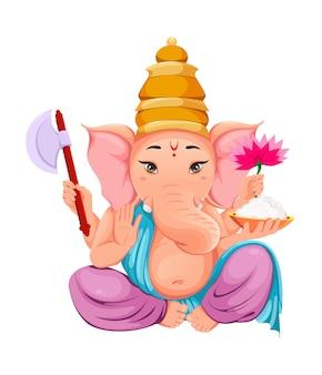 Lord ganesha. idolo di ganpati in abiti tradizionali indiani