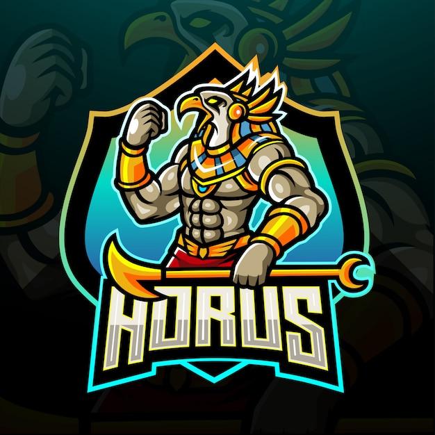 Il signore del logo horus esport. disegno logo mascotte