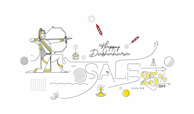 Lord rama con arrow che uccide ravana in happy dussehra festival of india poster, line art vector illustration.