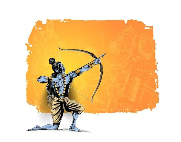 Lord rama con la freccia che uccide ravana nel poster del festival di navratri in india con testo hindi dussehra