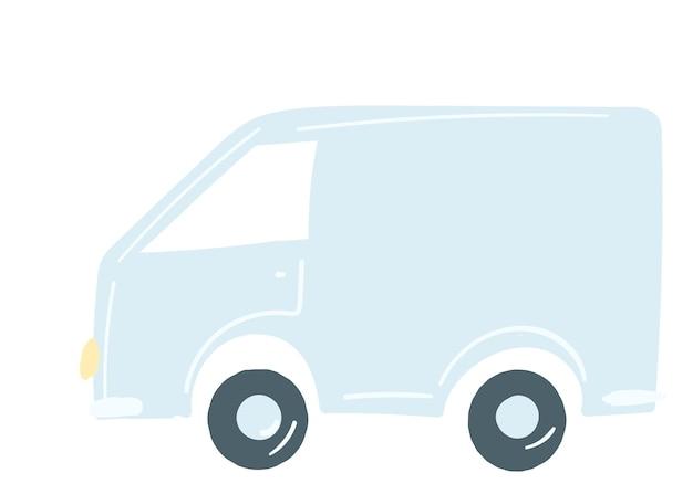 Camion furgone in auto blu isolata disegnata a mano in stile cartone animato vettore illustrazione trasporto di merci