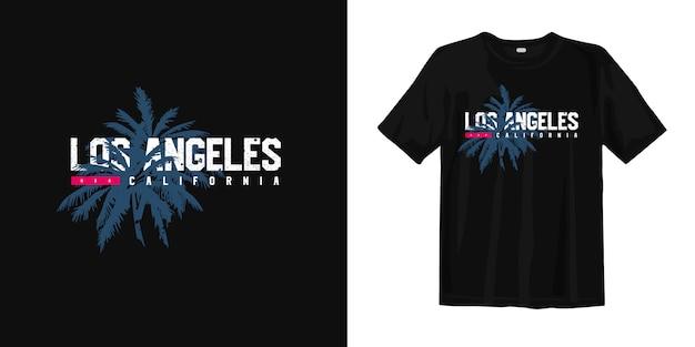 T-shirt grafica los angeles california con silhouette di palma