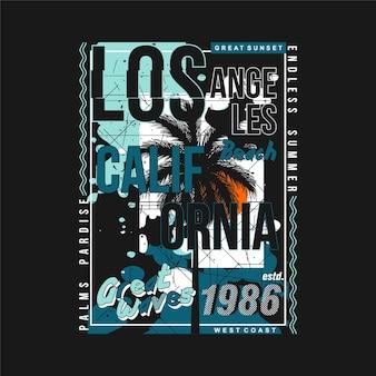 Los angeles california graphic design tipografia t shirt vettori estate adventure