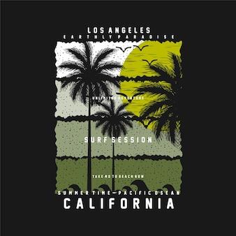 Los angeles california paesaggiotropicale esotico foglie t-shirt grafica vettoriale