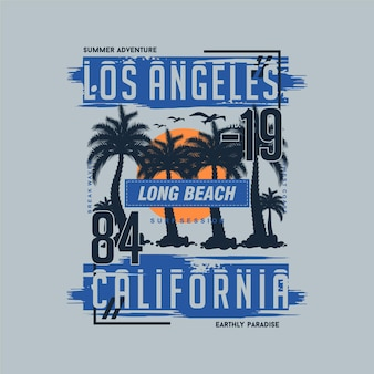 Los angeles california in tema estivo design grafico t shirt design