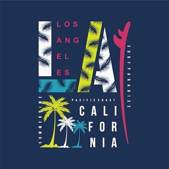 Illustrazione della tavola da surf di los angeles, california per il design della maglietta