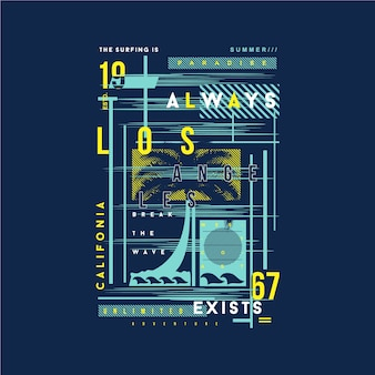 Design tipografico della maglietta grafica della cornice di testo della california di los angeles