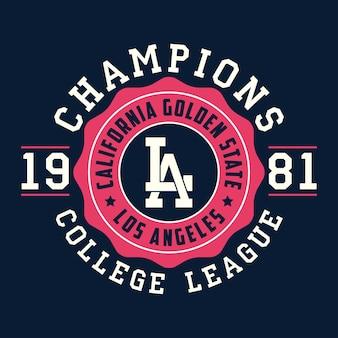 Tipografia di los angeles california per abiti di design grafica per tshirt prodotto di stampa