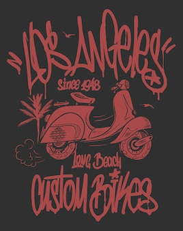 Etichetta di graffiti di los angeles e design disegnato a mano di scooter.