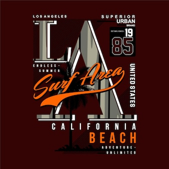 Maglietta dell'illustrazione del tema della spiaggia di vettore di tipografia grafica della zona di surf di los angeles