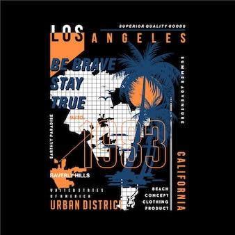 Los angeles, con maglietta grafica astratta mappa e foglie di palma Vettore Premium