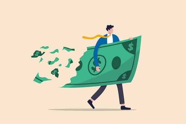 Perdere investimenti di denaro nella crisi finanziaria, profitti e perdite negli affari o deflazione e concetto di inflazione, uomo d'affari che tiene i soldi delle banconote in un grande dollaro mentre la perdita, si sbriciola e si riduce di valore.