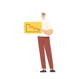 Perdente, stupido concetto di dipendente. personaggio maschile confuso che tiene banner con grafico a freccia del mercato azionario a goccia, documento di analisi aziendale e dati statistici sul segno di carta. fumetto illustrazione vettoriale