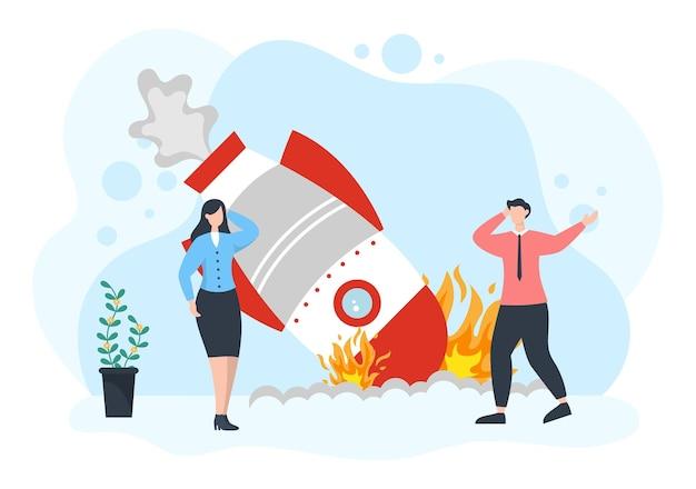 La perdita negli affari porta al fallimento, problemi economici o di rimborso del prestito illustrazione