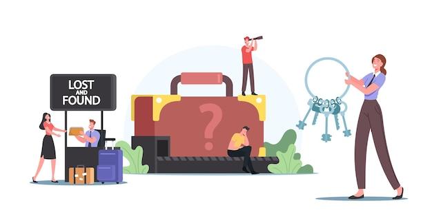 Concetto di bagagli smarriti e ritrovati. i personaggi dei viaggiatori ritirano il bagaglio sul nastro trasportatore dell'aeroporto o in ufficio. passeggeri sconvolti