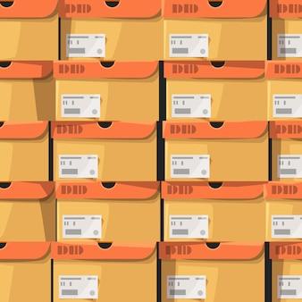 Un sacco di scatole di scarpe di cartone sullo sfondo