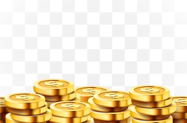 Molte monete isolate.